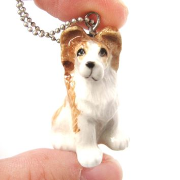 Puppy Dog Porcelain Ceramic Animal Pendant Necklace | Handmade