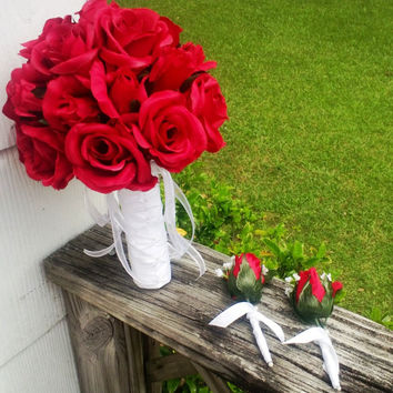Wedding Bouquet Red Rose with 2 Red Rose Boutonniere Set, Red Rose Bouquet, Red Bridal Bouquet Red Flower Bouquet, Red Bridesmaid