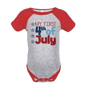 Custom Party Shop First 4th of July Raglan Onepiece