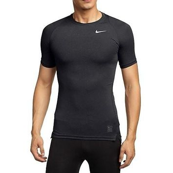 Nike Mens Pro Cool Compression Short Sleeve Top Black/Dark Grey/White 703094-011 Size Medium