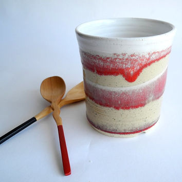 Cutlery Drainer Utensil Holder  - Red and White Stoneware