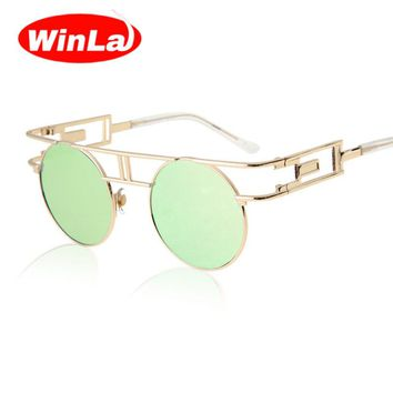 Unique Round Steampunk Sunglasses Women Retro Alloy Frame sunglass women Brand Designer Vintage fashion Sun glasses gafas de sol