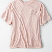 AEO Embroidered T-Shirt, Light Pink