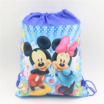 1pcs\lot Minnie Mouse Decoration Birthday Party Baby Shower Kids Favors Non-woven Fabric Mickey Drawstring Gifts Bags supplies