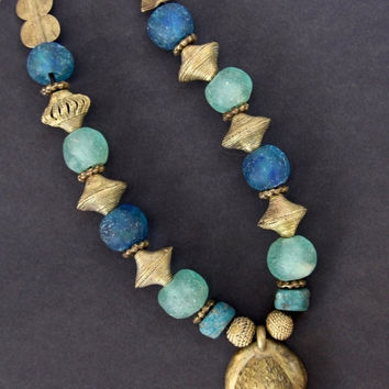 Tribal Blues Frog Necklace Cast Brass Frog w Teal Hebrons Large African Recycled Glass Beads in Blue and Aqua and African Brass Ethnic Jewe