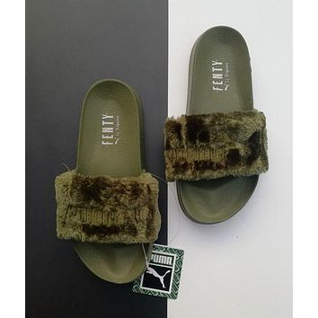 """PUMA"" Rihanna Fenty Leadcat Popular Women Classic Fur Sandals Slipper Shoes Green I"