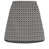 Monochrome Circle Jacquard A-Line Mini Skirt
