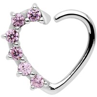 16 Gauge Pink CZ Heart Right Closure Daith Cartilage Tragus Earring