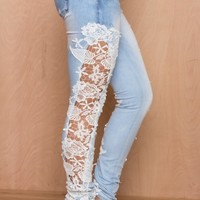 Love In Lace Low Rise Lace Cutout Jeans | LASULA