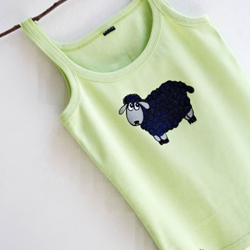 Sheep Design Hand Painted Light Green Cotton Top by MishMashStore