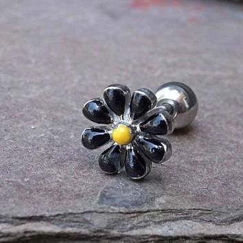 Black Daisy Cartilage Earring Tragus Piercing Helix