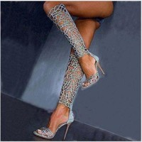 Fashion Hollow Shiny open-toed knee-length Thigh-High Boot