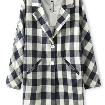 Navy White Notched Collar Plaid Long Sleeve Trench Coat