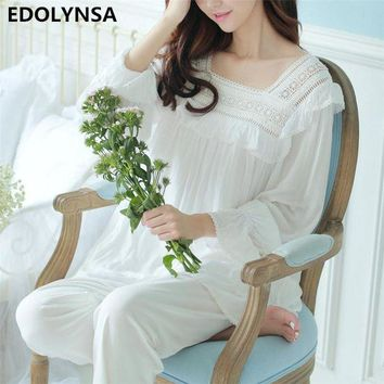 VONG2W Pyjamas For Women 2017 Cotton Women Character Home Wear Long Sleeve Sleepwear Sexy Pajama Sets Lace Indoor Clothing #H330
