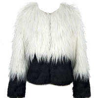 Color Block Shaggy Fur Coat