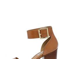 Steve Madden Estoria Cognac Leather Ankle Strap Heels