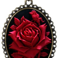 """Red Rose Necklace Best Friend Flower Charm Pendant Fashion Jewelry 18"""" 24"""" Chain Deluxe Velvet Pouch Gift"""