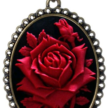 "Red Rose Necklace Best Friend Flower Charm Pendant Fashion Jewelry 18"" 24"" Chain Deluxe Velvet Pouch Gift"