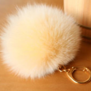 Pale Yellow Big Rabbit Fur Pom Keychain