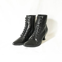 Black Leather granny boots - Leather zip up ankle boots - Point toe granny boots - Black goth boots - Button up granny boots - Witchy boots