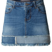 LE3NO Womens Casual Vintage Frayed A-Line Mini Denim Skirt
