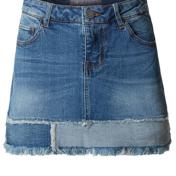 Casual Vintage Frayed A-Line Mini Denim Skirt