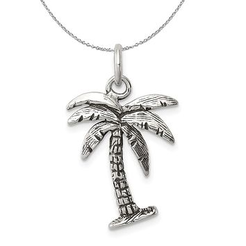 Sterling Silver 3D Antiqued Palm Tree Necklace