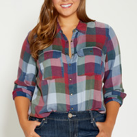 plus size plaid button down shirt with two pockets