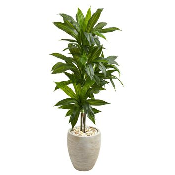 Artificial Plant -4 Foot Dracaena with Sand Colored Planter Silk Plant