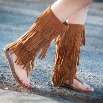 Fringe Mid Calf Gladiator Thong Flat Sandal (Tan) - Shoes 4 U Las Vegas