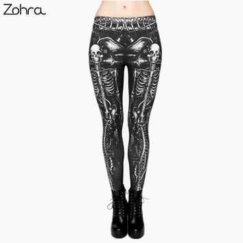 Zohra Black Skull Fashion Women Clothing fitness legging Digital 3D Printing Punk Legging Pants Causal Leggings