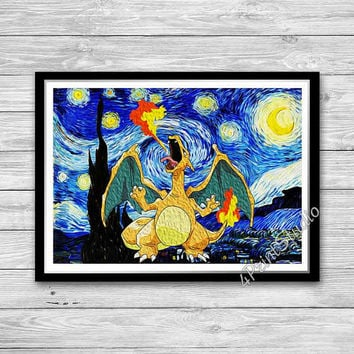 Dragon and Starry Night Print, Reproduction of Vincent Van Gogh Starry Night, Pokemon Go Charizard Art Print, Charizard Nursery Decor