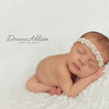 Newborn Headband / Halo / Pearls and Lace / Off White / Photography Prop - TIFFANY