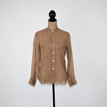 Sheer Long Sleeve Brown Blouse Button Up Tunic Shirt Womens Small Mocha Brown Top Collarless Shirt Rayon Blend Chicos Womens Clothing