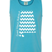 Custom Alabama Chevron Comfort Color Tank Top. Show Your state pride and state love. Perfect for the Summer and the Beach