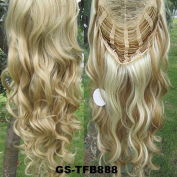 "HOT 3/4 Half Long Curly Wavy Wig Heat Resistant Synthetic Wig Hair 200g 24"" Highlighted Curly Wig Hairpieces with Comb Wig Hair GS-TFB888 H27/613"