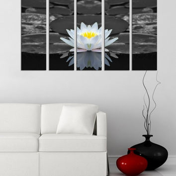 Large Wall Art 5 Panel Lotus Flower and Water Lily Canvas Prints, Prints For Wall, Prints On Canvas, Lotus Canvas Art Decor, Flower Photo