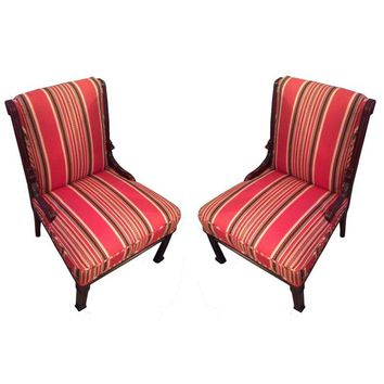 Pre-owned Red Striped Eastlake Slipper Chairs - A Pair