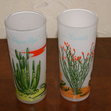 Lot Of 2 1959 Blakely Oil And Gas Giveaways Frosted Ice Tea Glasses With Arizona Cactus On Each Anchor Hocking Glass Company