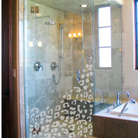 Leopard spot bathroom shower pattern in a by Vinlyisyourfriend