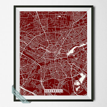 Nuremberg Street Map, Germany Poster, Nuremberg Print, Nuremberg Map, Germany Print, Germany Map, Northern Bavaria, Wall Art
