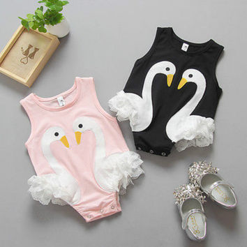 Cute Baby Girls Kids Toddler Newborn Summer Clothes Infant Swan Lace Sleeveless Bodysuit Jumpsuit Playsuit Outfits Sunsuit 0-3Y