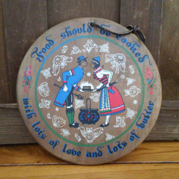 Vintage Round Wood Pennsylvania Dutch Kitchen Plaque Lot of Love and Butter