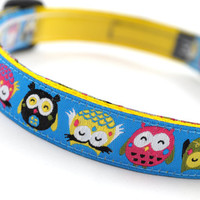 "Dog Collar ""Topsy Turvy Owls"" - 5/8"" Width - Available in 3 Sizes (XS, S, M)"