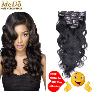 "Malaysian Virgin Hair Clip In Hair Extensions Body Wave 100% Human Hair Clip In Hair 7pieces/Set Natural Black 16""-26"""