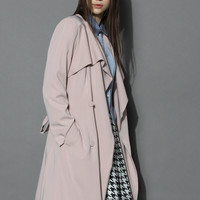 Chicwish Nude Pink Waterfall Trench Coat Beige