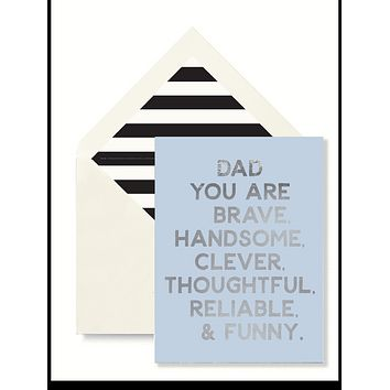Dad You Are Brave Greeting Card, Single Blank Signature Card