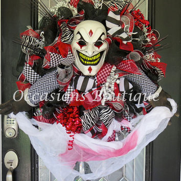 Halloween Wreath, Halloween Party Decoration, Fall Wreath, Door Hanger, Front Door Wreath, XL Wreath, Deco Mesh Wreath, Ready to Ship