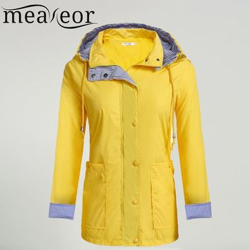 Meaneor Women Casual Waterproof Spring Autumn Raincoat Hooded Trench Coat Adjustable Drawstring Pocket Winter Windbreaker