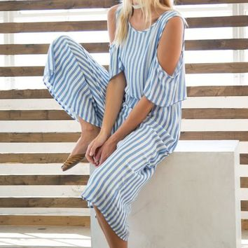 Striped Culotte Jumpsuit with Pockets